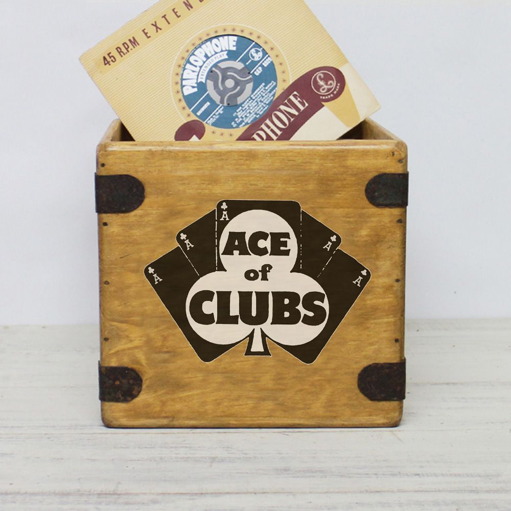 "Ace Of Clubs  7"" Record Box Vintage Vinyl Crate"