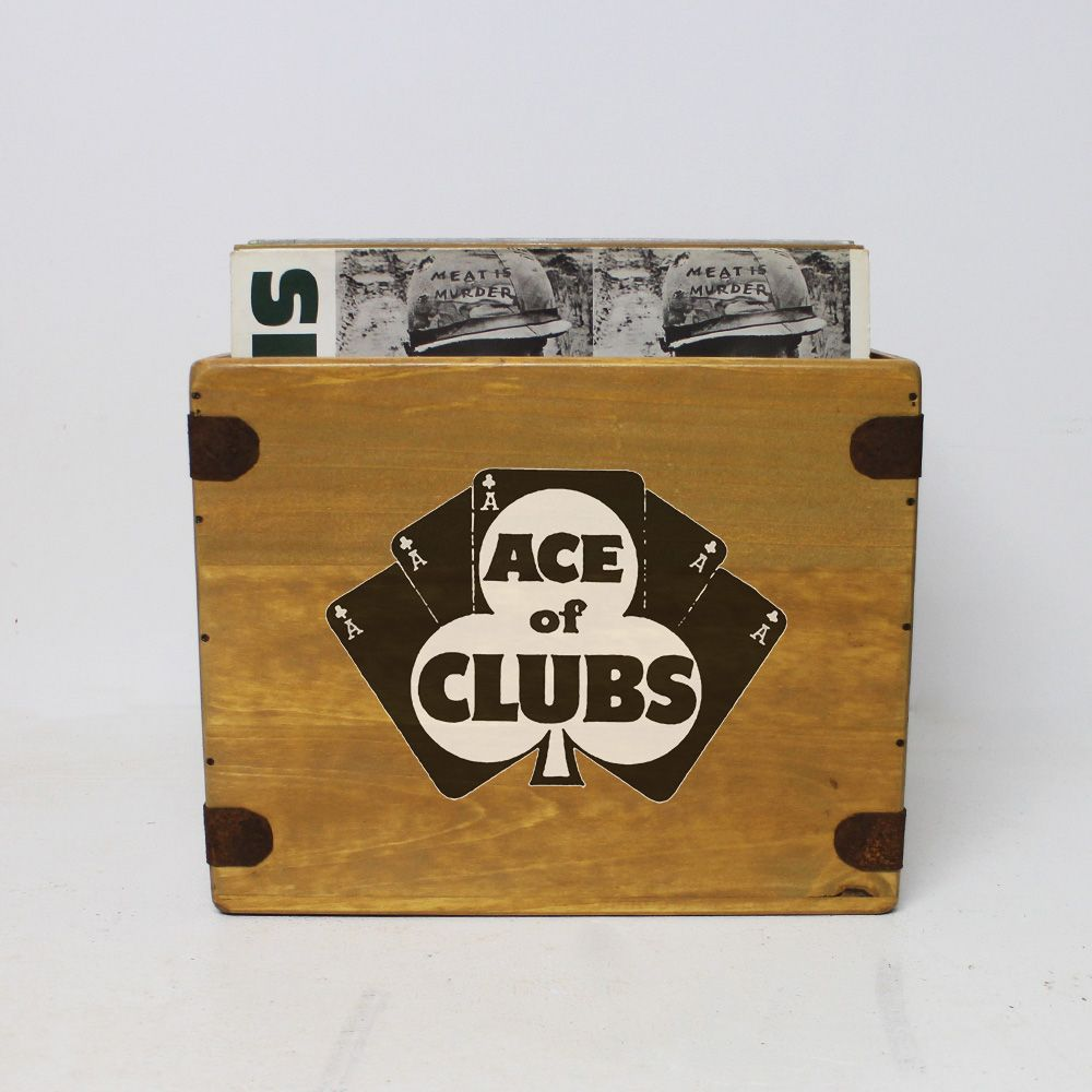 "Ace Of Clubs Record Box  12"" LP's Wooden Vinyl 65 Album Crate"