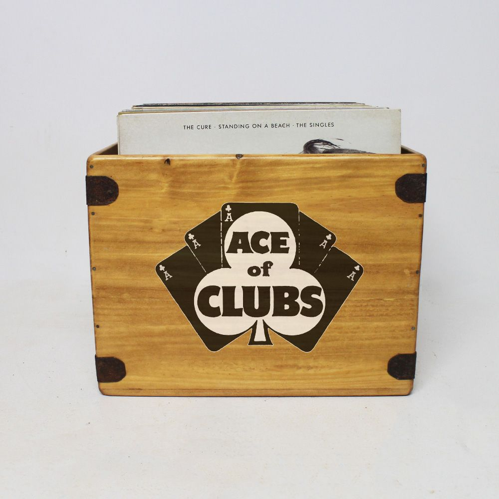 "Ace Of Clubs  Record Box  Large 80 12"" LP's Wooden Vinyl Album Crate"