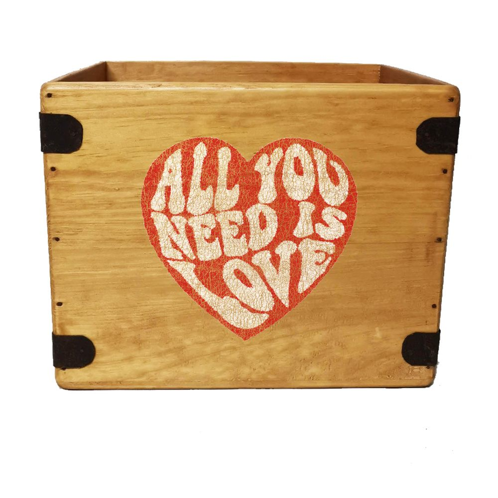 "All You Need Is Love Record Box  12"" LP's Wooden Vinyl 65 Album Crate"