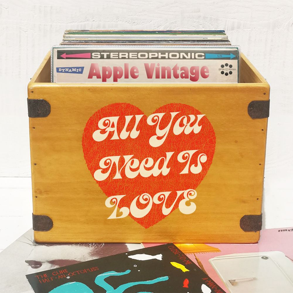 "All You Need Is Love Record Box  Large 80 12"" LP's Wooden Vinyl Album Crate"