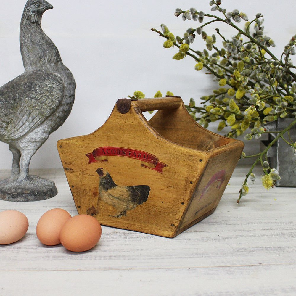 Basket Vintage Egg Box Rustic Wooden Crate Pattimore Wells Somerst