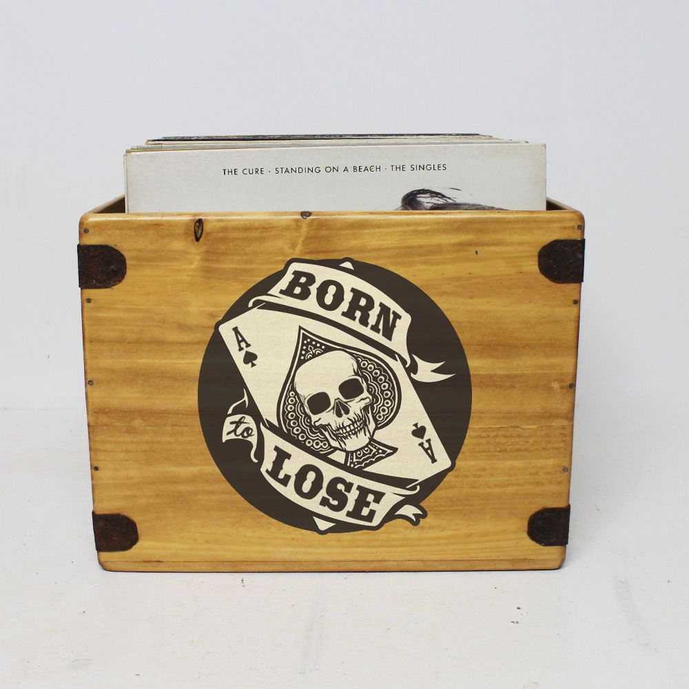 "Born To Lose Record Box  Large 80 12"" LP's Wooden Vinyl Album Crate"