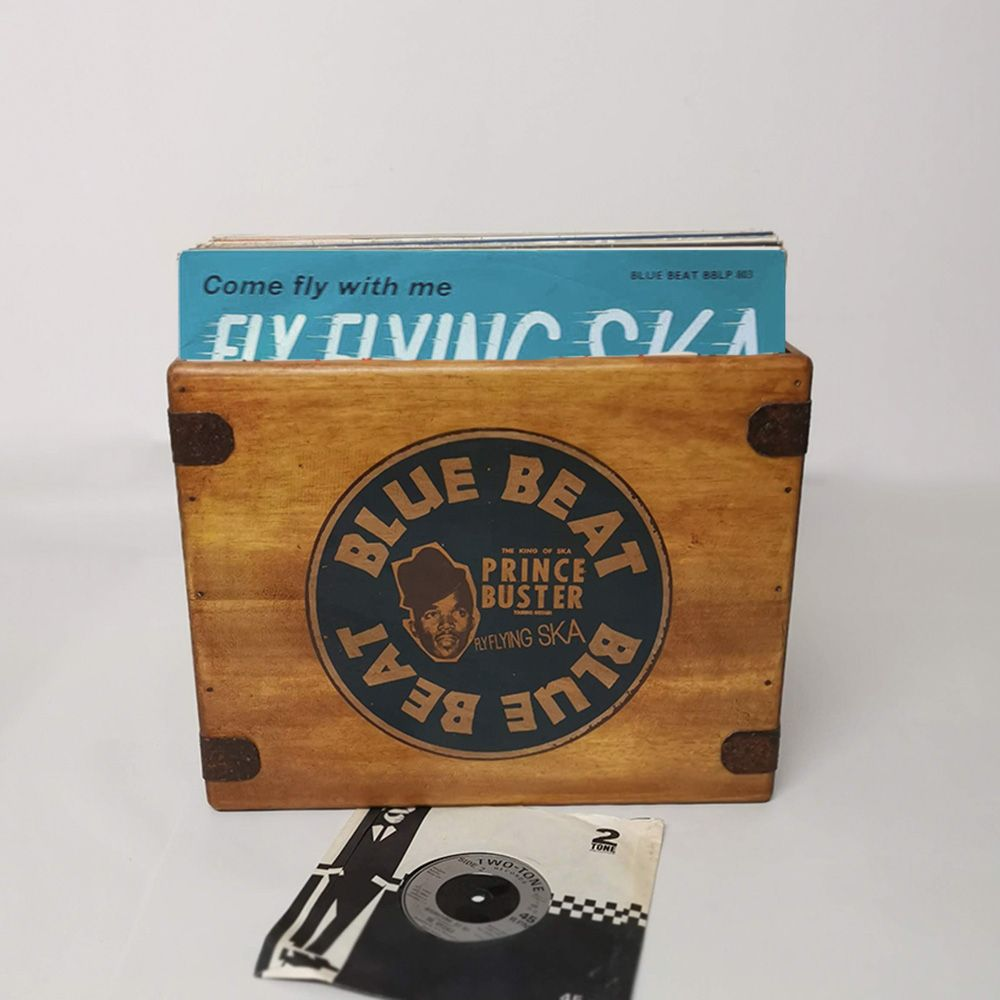Buster Blue  Beat Record Box  12 Inch  LP's  65 Album Wooden Vinyl Crate  Ska