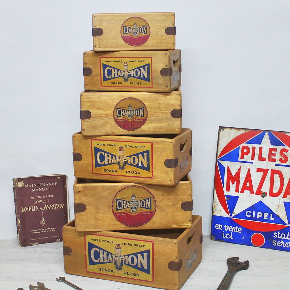 Champion Spark Plugs Box Vintage Wooden Spares Crate