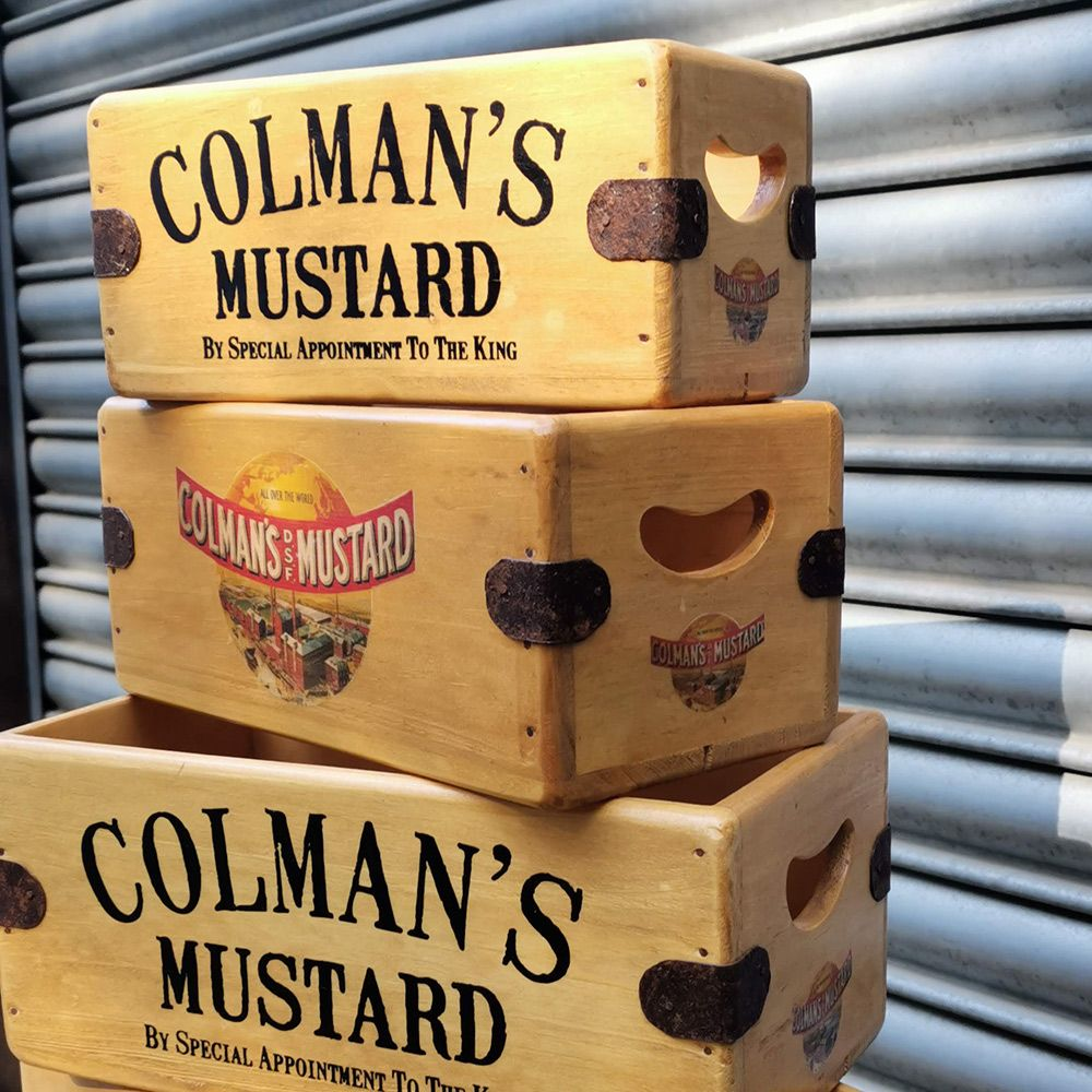 Colmans Mustard Box Wooden Display Crate Vintage Advertising