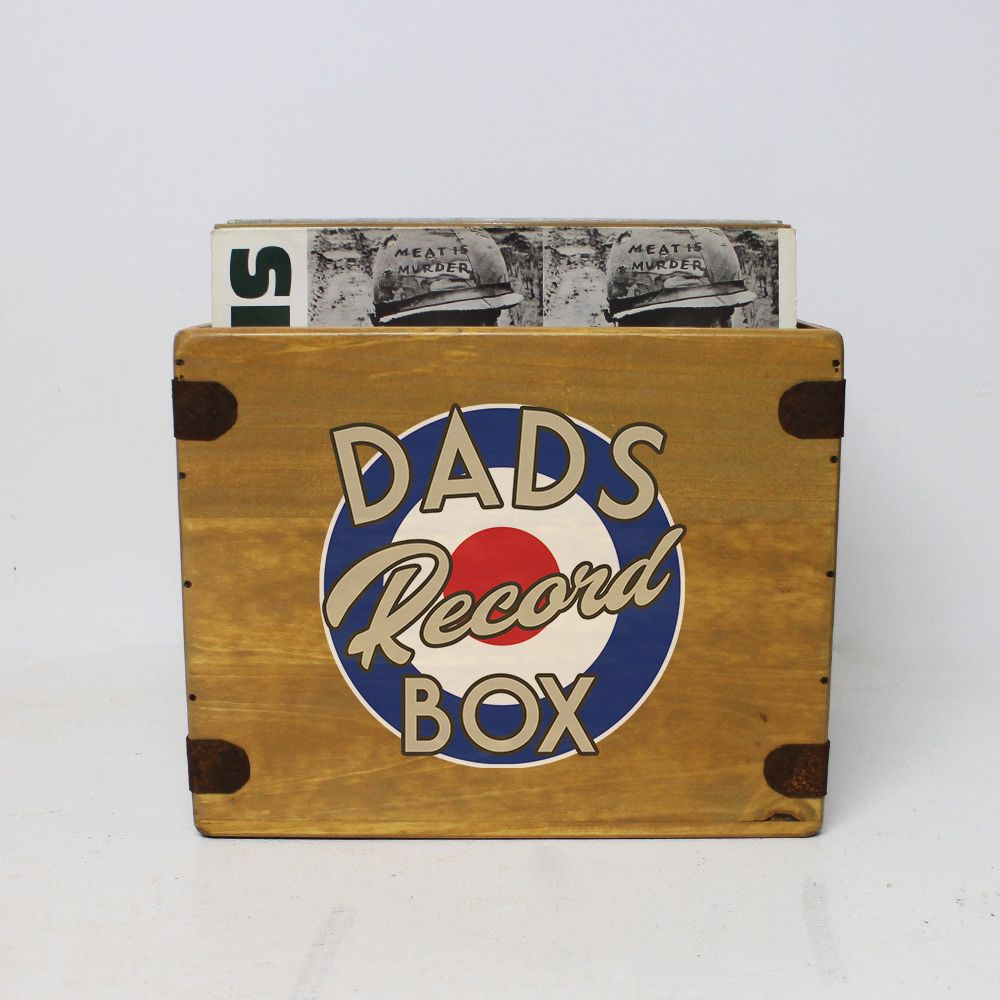 "Dad's Record Box  12"" LP's Wooden Vinyl 65 Album Crate"
