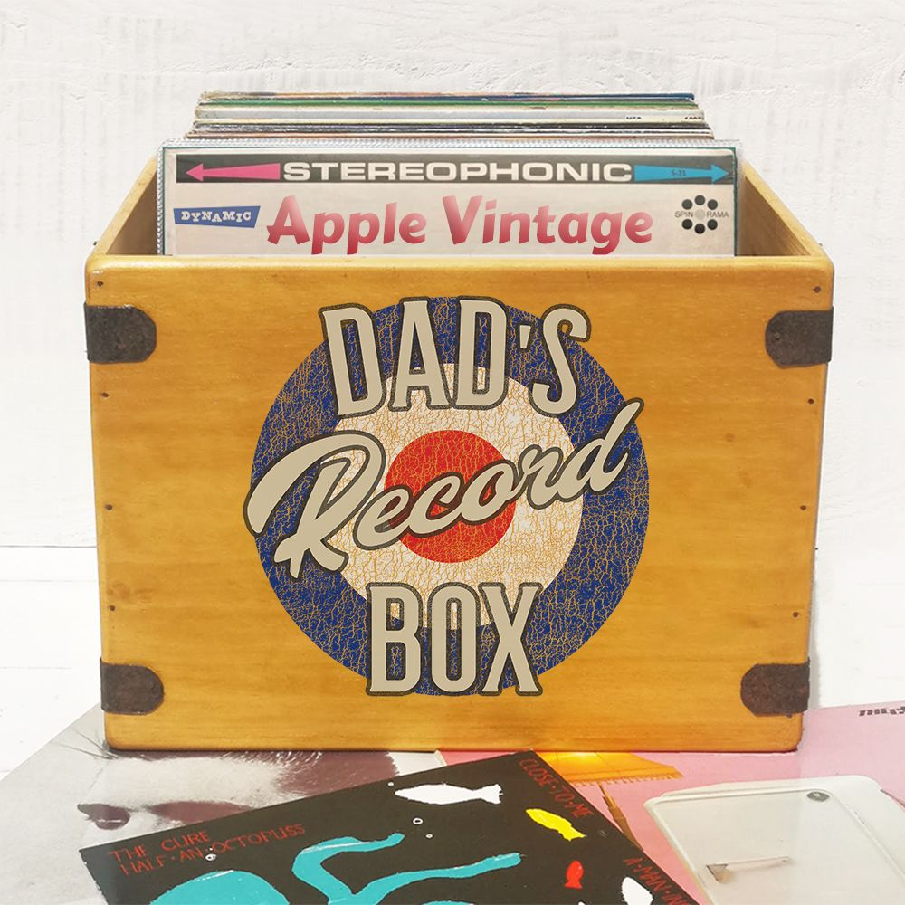 "Dad's Record Box Large 80 12"" LP's Wooden Vinyl Album Crate"