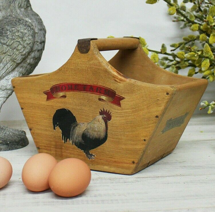 Egg Baskets Rustic Handcrafted Wooden Farm Trugs