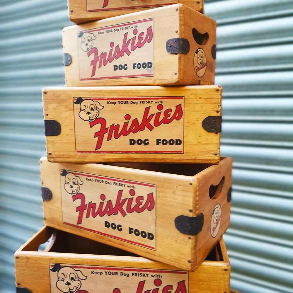 Friskie Dog Vintage Box Wooden Crate Shop Display Dog Gift Hamper