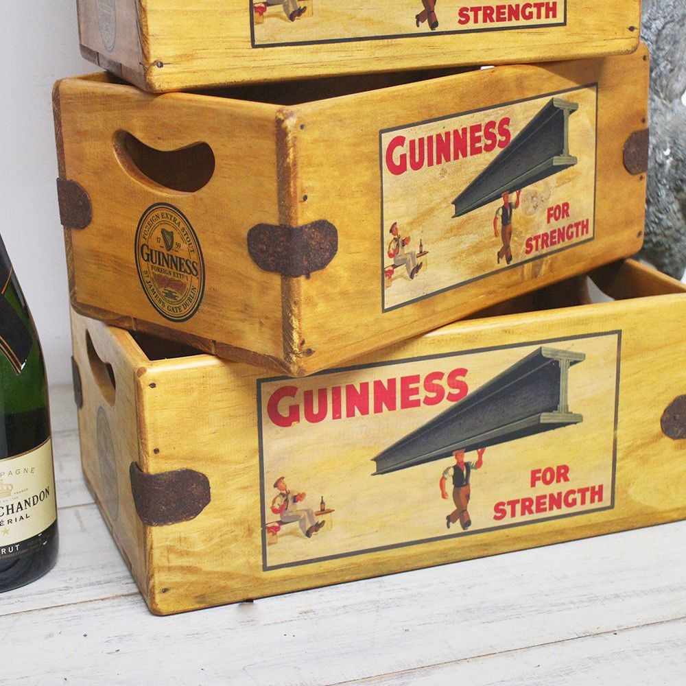 Guinness Vintage Box Retro Wooden Advertising Crate