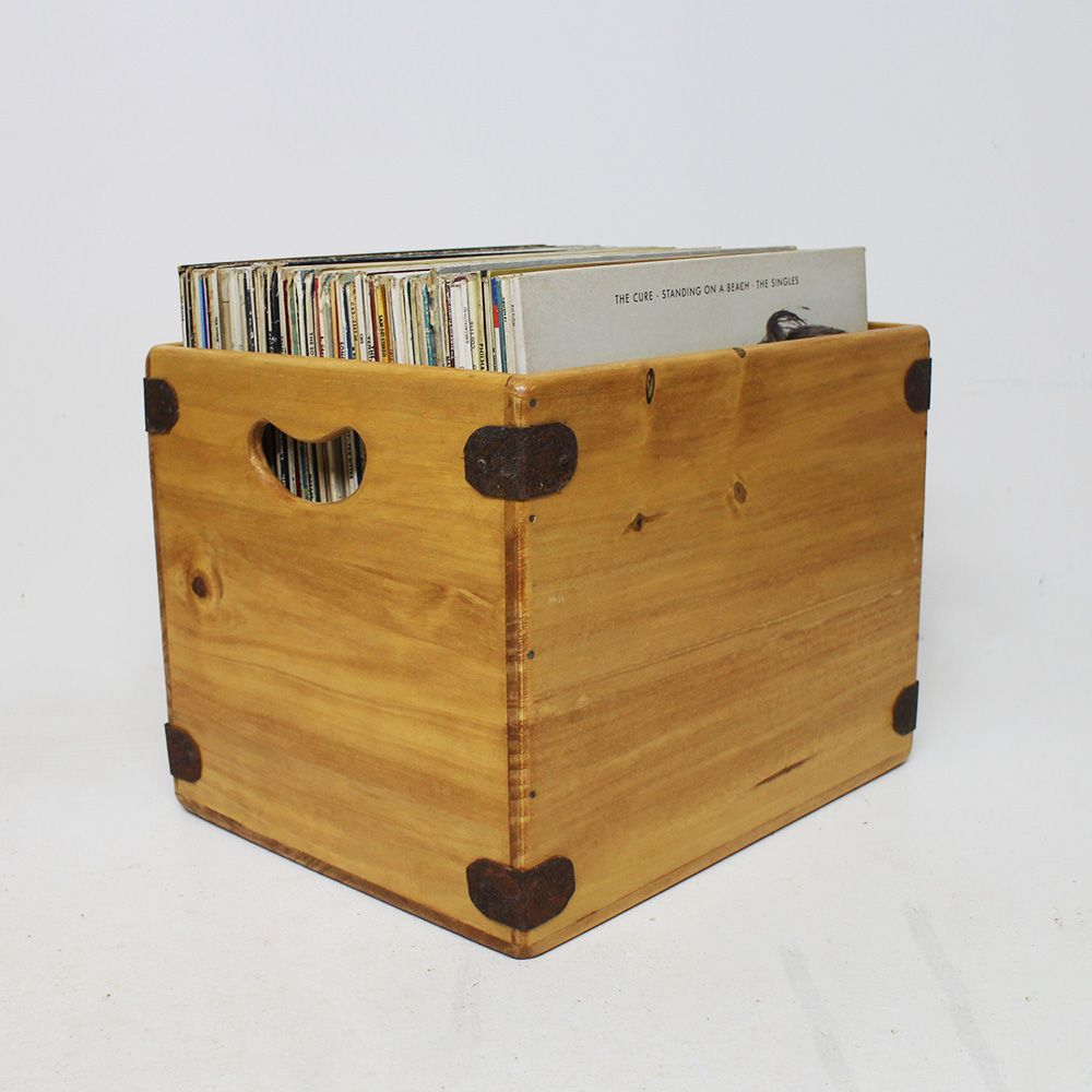"Handcrafted Record Box Large 85 12"" Album Crate"