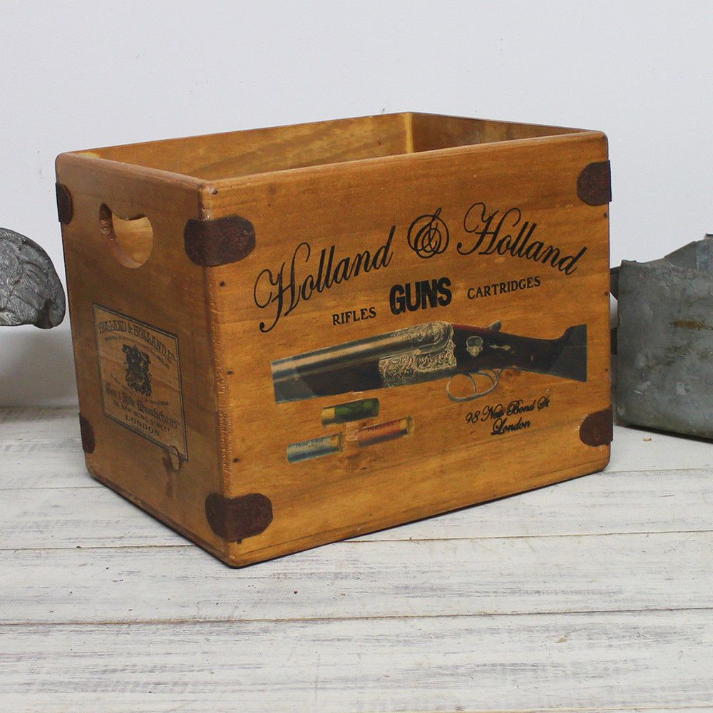 Holland & Holland Box Large Vintage Wooden Hamper Crate
