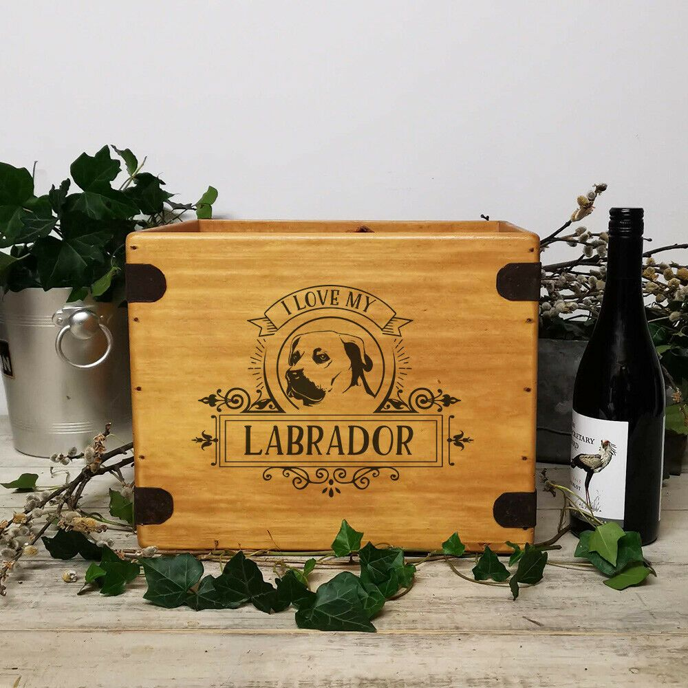 Labrador Gift Box Quality Handcrafted Wooden Dog Hamper Toy Crate