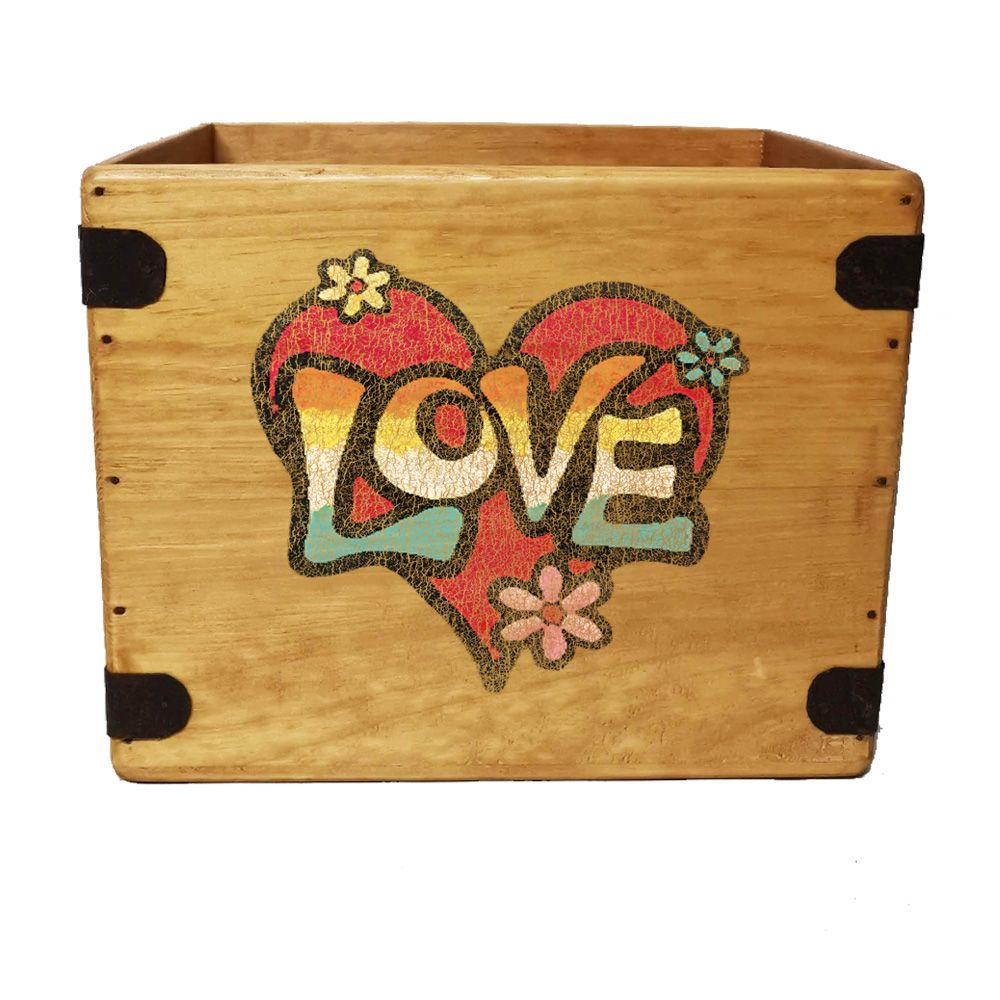 "Love Graffiti Record Box  12"" LP's Wooden Vinyl 65 Album Crate"