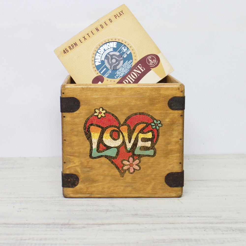 "Love Retro Graffiti 7"" Record Box Vintage Vinyl Crate"