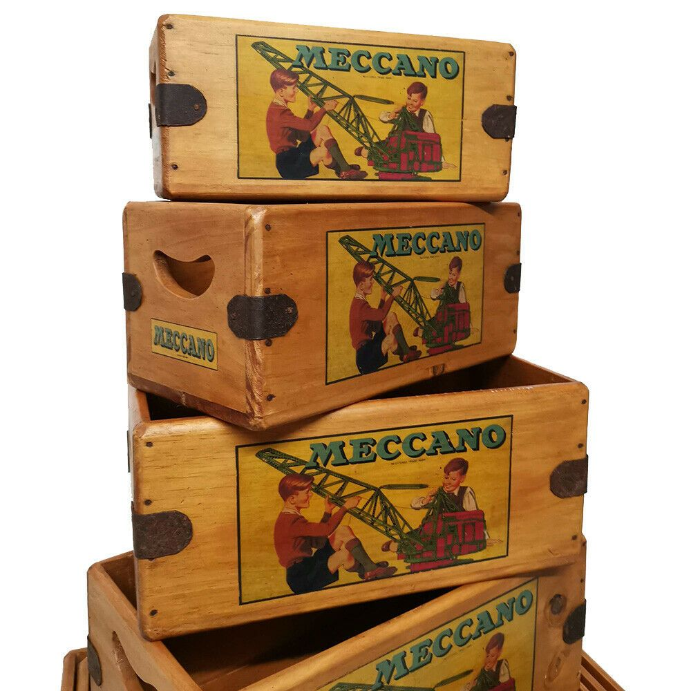 Meccano Box Vintage Wooden Crate Shop Display Advertising Hornby Collectible