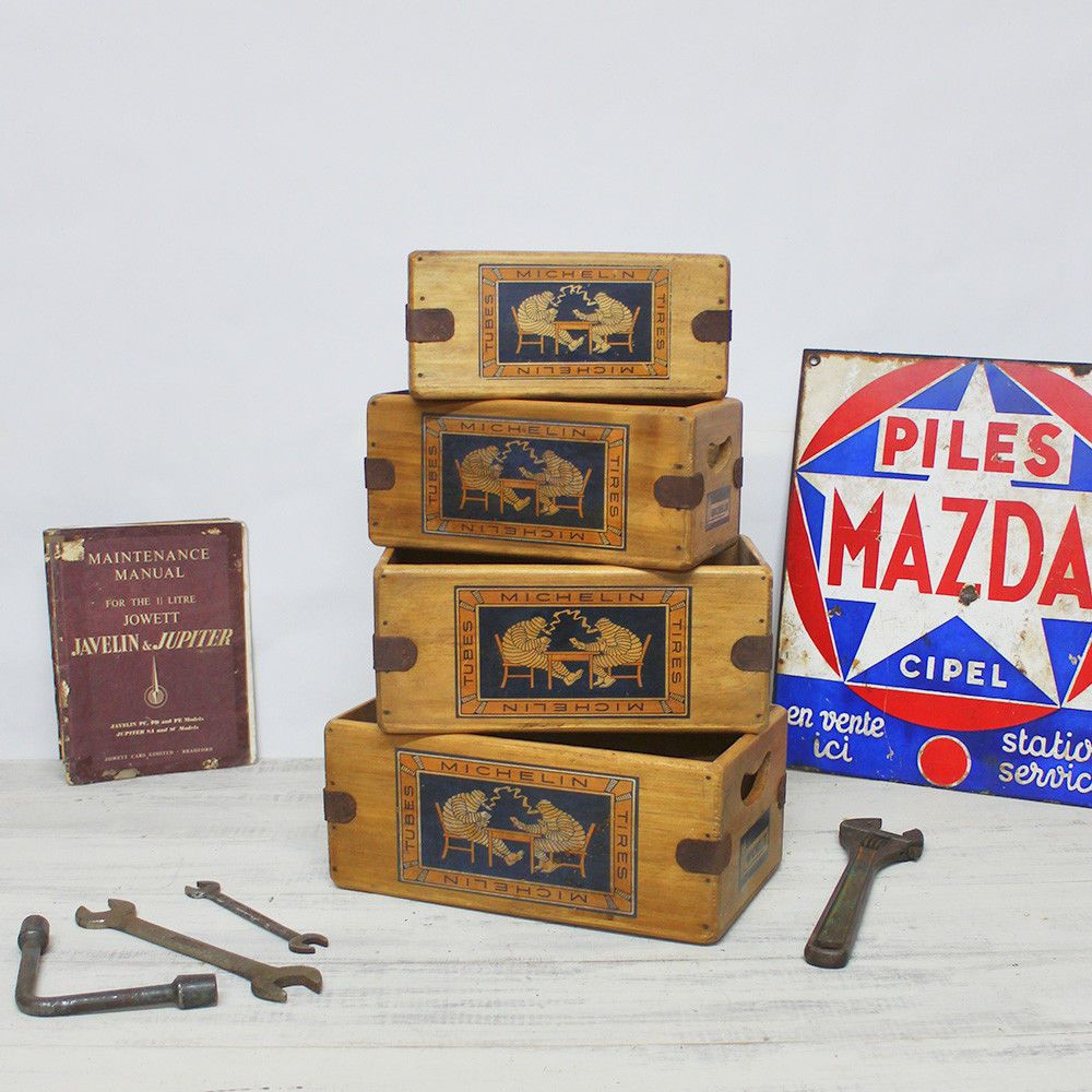 Michelin Tyres Box Vintage Wooden  Crate