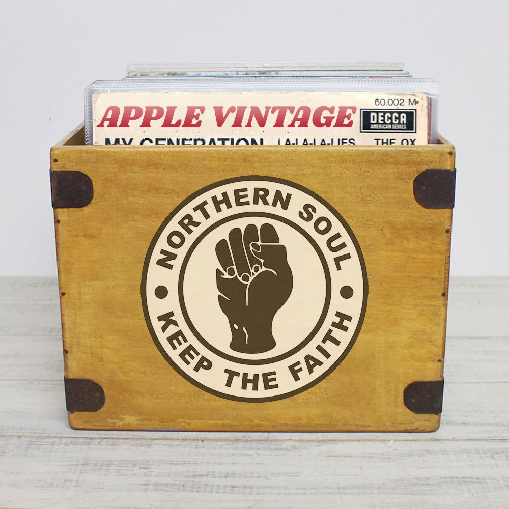 "Northern Soul Record Box Large 80 12"" LP's Wooden Vinyl Album Crate"
