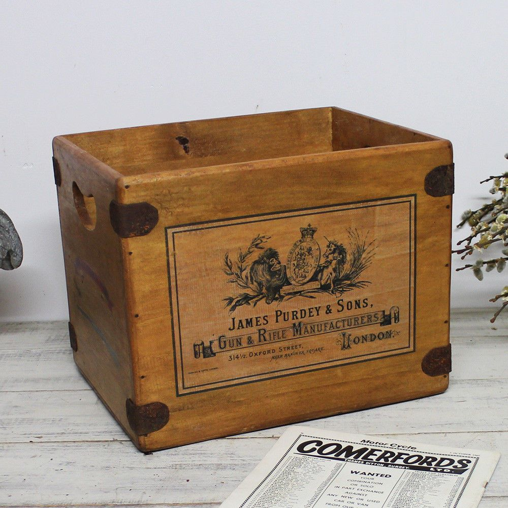 Purdey Shotguns Box Large Vintage Wooden Hamper Crate Clay Shooting