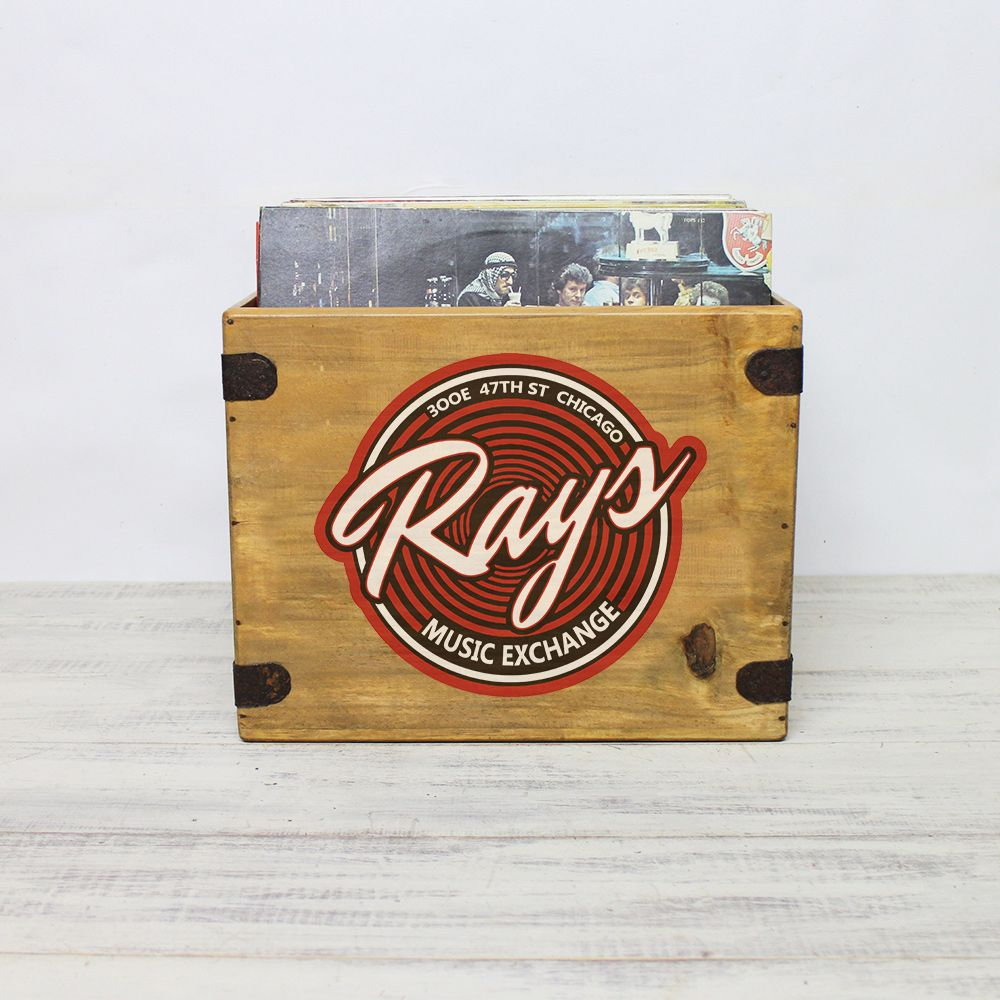 "Rays Music Exchange  Record Box 12"" Album  Vintage Wooden Crate"