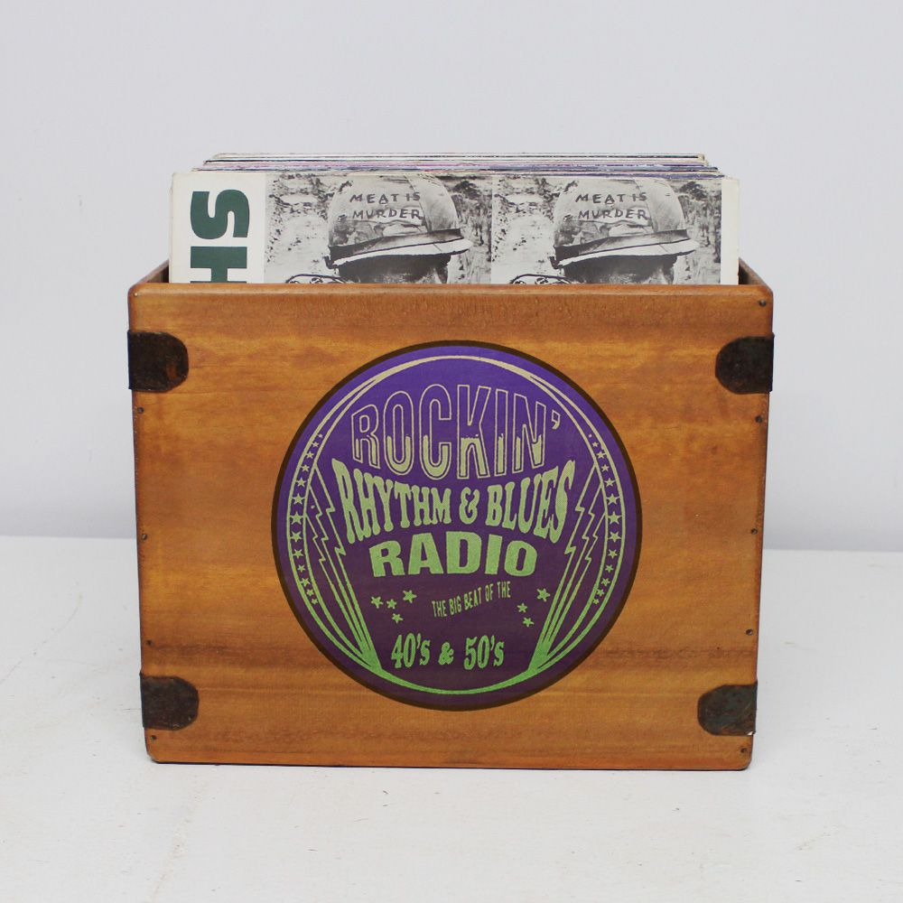 "Rhythm & Blues Record Box 12"" LP Vintage Wooden Crate"