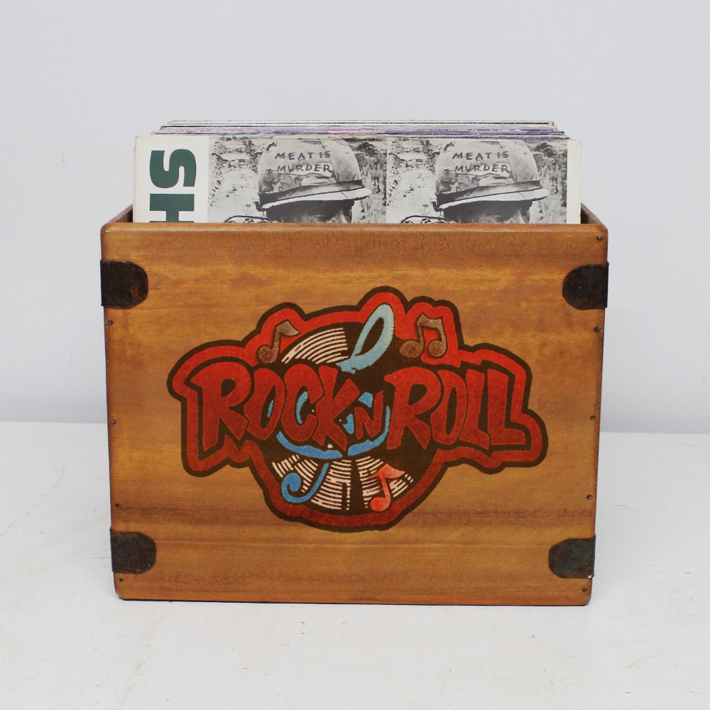 "Rock N Roll  Record Box  12"" LP's Wooden Vinyl 65 Album Crate"