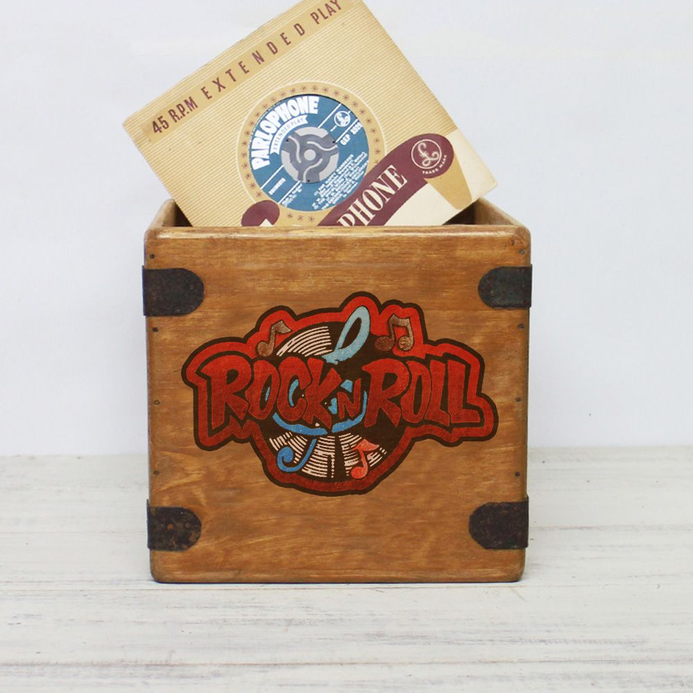 "Rock & Roll 7"" Record Box Vintage Vinyl Crate"